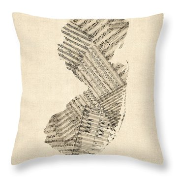 Old Sheet Music Map Of New Jersey Throw Pillow by Michael Tompsett