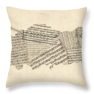 Old Sheet Music Map Of Turkey Map Throw Pillow