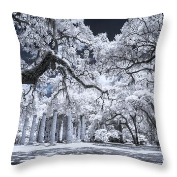 Old Sheldon Church In Infrared Throw Pillow