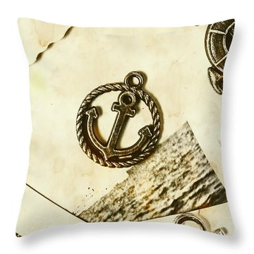 Old Shipping Emblem Throw Pillow