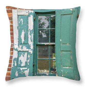 Old Shuttered Door Throw Pillow