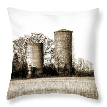 Old Silos Throw Pillow by Barry Jones