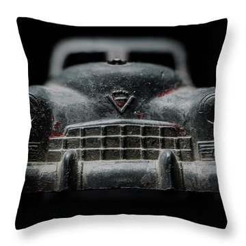 Old Silver Cadillac Toy Car With Specks Of Red Paint Throw Pillow