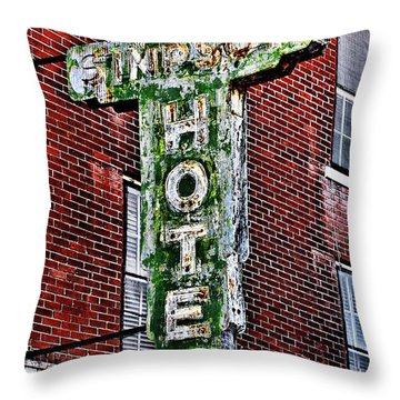 Old Simpson Hotel Sign Throw Pillow by Christopher Holmes