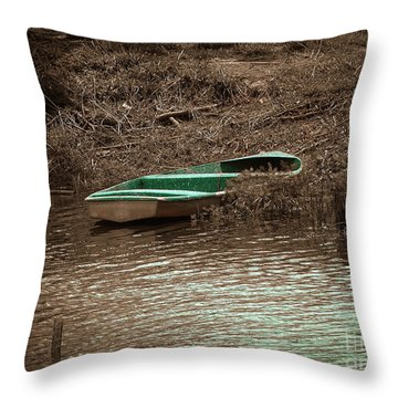 Old Skiff Throw Pillow