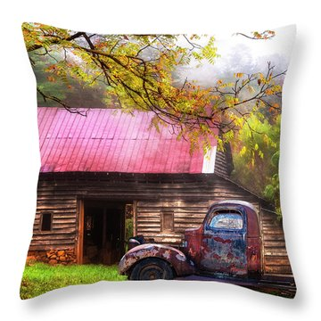 Throw Pillow featuring the photograph Old Smoky Truck And Barn by Debra and Dave Vanderlaan