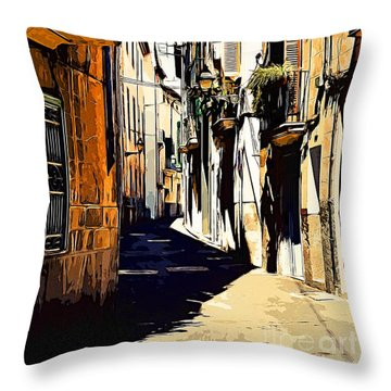 Old Spanish Street Throw Pillow