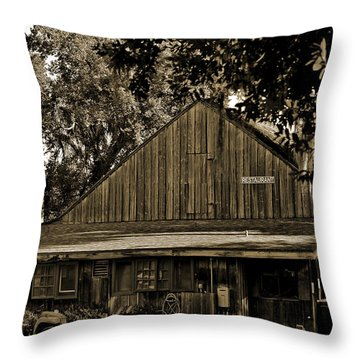 Throw Pillow featuring the photograph Old Spanish Sugar Mill Sepia by DigiArt Diaries by Vicky B Fuller