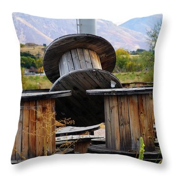 Old Spool Throw Pillow