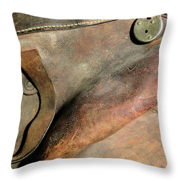 Throw Pillow featuring the photograph Old Stagecoach Bag by Scott Kingery