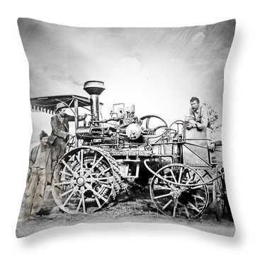 Old Steam Tractor Throw Pillow