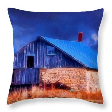 Old Stone Barn Blue Throw Pillow
