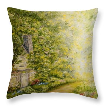 Old Stone Cottage Throw Pillow by Leea Baltes