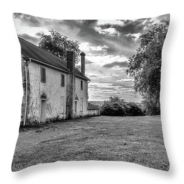 Old Stone House Black And White Throw Pillow