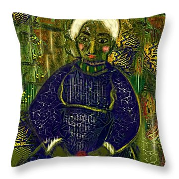 Throw Pillow featuring the digital art Old Storyteller by Alexis Rotella