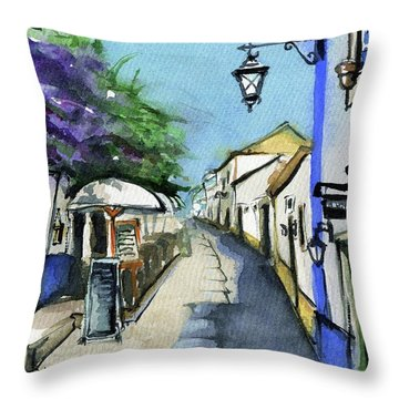 Throw Pillow featuring the painting Old Street In Obidos, Portugal by Dora Hathazi Mendes