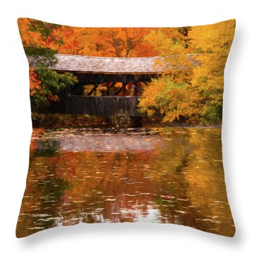 Throw Pillow featuring the photograph Old Sturbridge Village Covered Bridge by Jeff Folger
