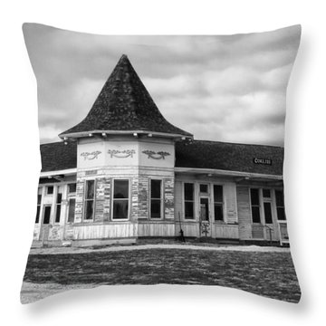 Throw Pillow featuring the photograph Old Sturtevant Hiawatha Depot by Ricky L Jones