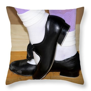 Old Tap Dance Shoes With White Socks And Wooden Floor Throw Pillow
