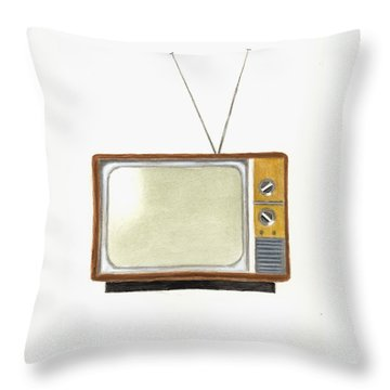 Old Television Set Throw Pillow by Michael Vigliotti