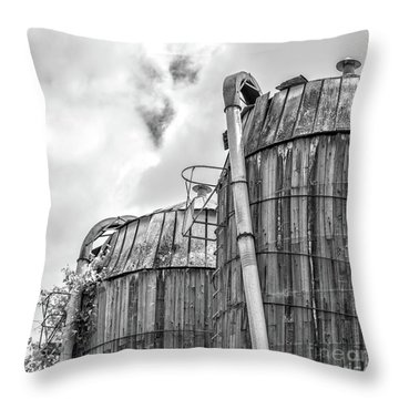 Throw Pillow featuring the photograph Old Texas Wooden Farm Silos by Edward Fielding