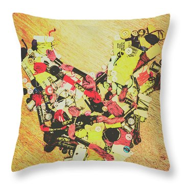 Old Threads And Hearts Throw Pillow