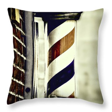Old Time Barber Pole Throw Pillow