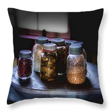 Old-time Canned Goods Throw Pillow by Tom Mc Nemar