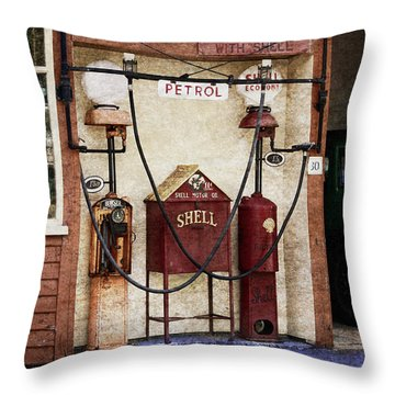 Old Time Gas Station Throw Pillow
