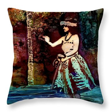 Throw Pillow featuring the painting Old Time Hula Dancer by Marionette Taboniar