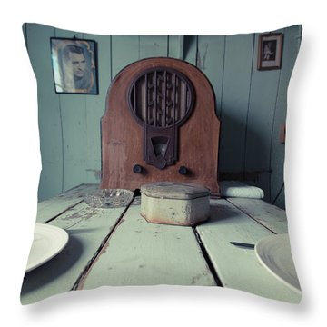 Throw Pillow featuring the photograph Old Time Kitchen Table by Edward Fielding