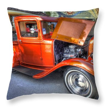 Old Timer Orange Truck Throw Pillow