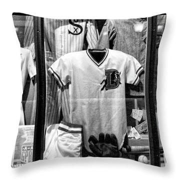 Old Timers Baseball League Black White  Throw Pillow