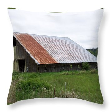 Old Tin Roof Barn Washington State Throw Pillow by Laurie Kidd