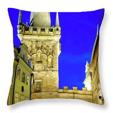 Throw Pillow featuring the photograph Old Town Bridge Tower by Fabrizio Troiani
