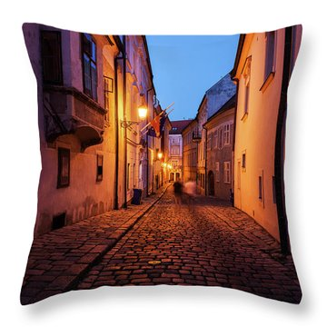 Old Town By Night In Bratislava City Throw Pillow