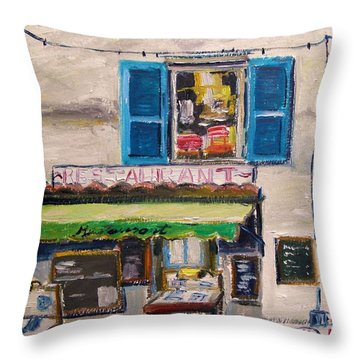 Old Town Cafe Throw Pillow by John Williams