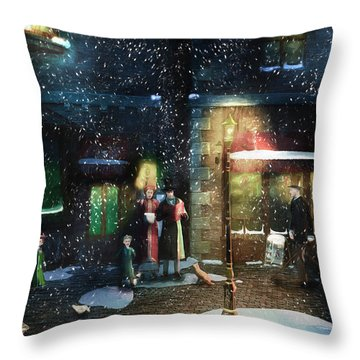 Old Town Christmas Eve Throw Pillow