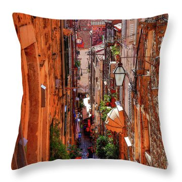 Old Town Dubrovniks Inner Passages Throw Pillow