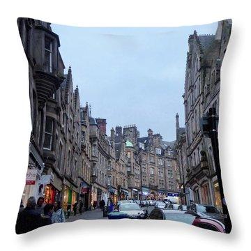 Old Town Edinburgh Throw Pillow by Margaret Brooks