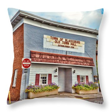 Old Town Hall Blacksburg Virginia Est 1798 Throw Pillow