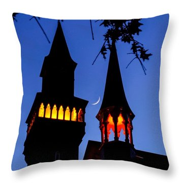Old Town Hall Crescent Moon Throw Pillow