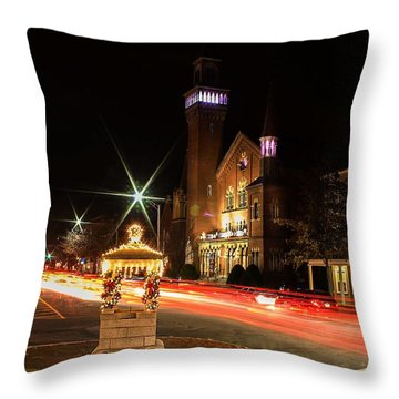 Old Town Hall Light Trails Throw Pillow