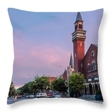 Old Town Hall Sunset Sky Throw Pillow