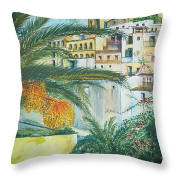 Old Town Ibiza Throw Pillow by Lizzy Forrester