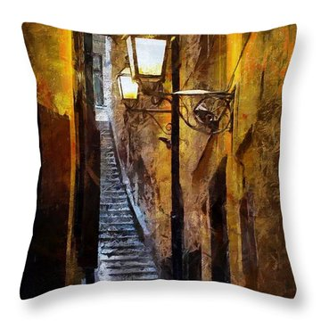 Old Town In Stockholm Throw Pillow