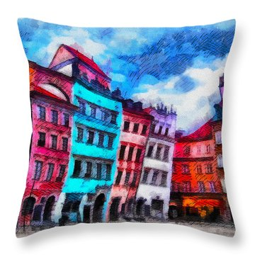 Old Town In Warsaw #11 Throw Pillow