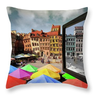 Old Town In Warsaw #13a Throw Pillow