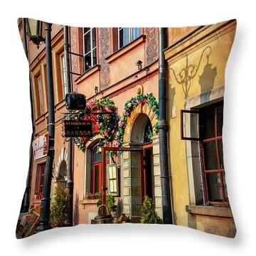 Old Town Market Square Warsaw Poland  Throw Pillow