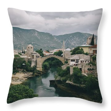 Old Town Of Mostar Throw Pillow